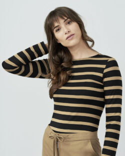 Svart og beige stripete trøye - modal og regenererte proteinfibre » Etiske & økologiske klær » Grønt Skift