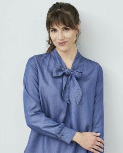 Bluse med knyting i halsen - 100 % lyocell » Etiske & økologiske klær » Grønt Skift