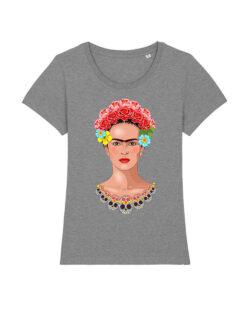 Grå t-skjorte med Frida Kahlo i 100 % økologisk bomull » Etiske & økologiske klær » Grønt Skift