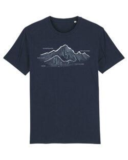Navy herre t-skjorte med fjell i 100 % økologisk bomull » Etiske & økologiske klær » Grønt Skift
