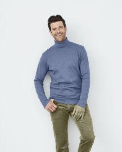 Indigo melert høyhalset genser i 100% økologisk bomull » Etiske & økologiske klær » Grønt Skift