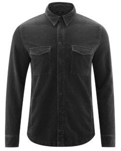 Gråsvart skjorte med brystlommer - økologisk bomull » Etiske & økologiske klær » Grønt Skift