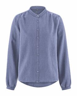 Blå bluse med krage - hamp og økologisk bomull » Etiske & økologiske klær » Grønt Skift