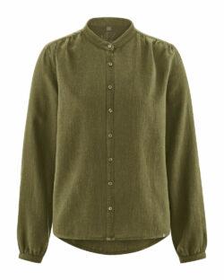 Grønn bluse med krage - hamp og økologisk bomull » Etiske & økologiske klær » Grønt Skift
