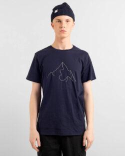 Navy t-skjorte med fjellmotiv - 100 % økologisk bomull » Etiske & økologiske klær » Grønt Skift
