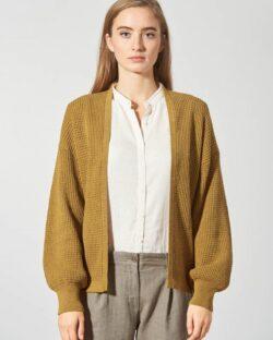 Okergul strikkejakke - hamp og økologisk bomull » Etiske & økologiske klær » Grønt Skift