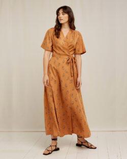 Oransje Caroline omslagskjole - 100 % Tencel™ Lyocell » Etiske & økologiske klær » Grønt Skift