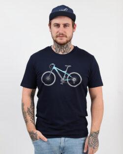 Navy t-skjorte med sykkel i 100 % økologisk bomull » Etiske & økologiske klær » Grønt Skift