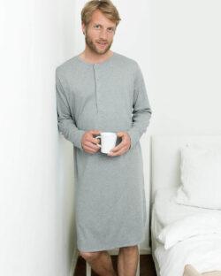 Gråmelert unisex retro nattskjorte - 100 % økologisk bomull » Etiske & økologiske klær » Grønt Skift
