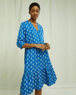 Blå kjole med paisleymønster - 100 % Tencel™ Lyocell » Etiske & økologiske klær » Grønt Skift