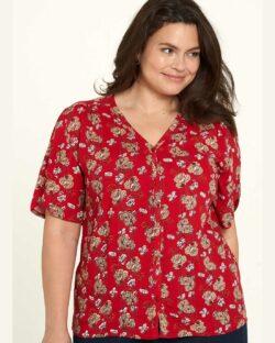Rød mønstrete bluse - 100 % Ecovero viscose » Etiske & økologiske klær » Grønt Skift