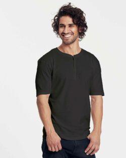 Svart bestefar t-skjorte med knapper - 100 % økologisk bomulll » Etiske & økologiske klær » Grønt Skift
