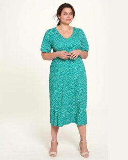 Turkis mønstret lang kjole - 100 % EcoVero™ viskose » Etiske & økologiske klær » Grønt Skift