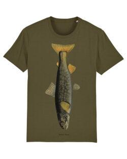 Khaki grønn t-skjorte med ørret i 100 % økologisk bomull » Etiske & økologiske klær » Grønt Skift