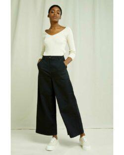 Svart og vid bukse med høyt liv - økologisk bomull » Etiske & økologiske klær » Grønt Skift