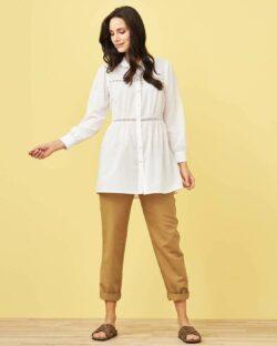 Hvit lang bluse med broderi - 100 % økologisk bomull » Etiske & økologiske klær » Grønt Skift