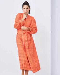 Oransje morgenkåpe i 100 % økologisk bomull » Etiske & økologiske klær » Grønt Skift