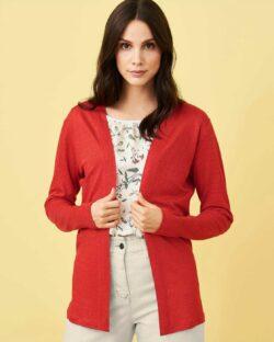Rød cardigan - 100 % lin » Etiske & økologiske klær » Grønt Skift