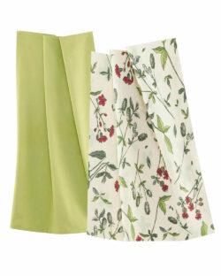 2 pk grønn og blomstrete kjøkkenhåndklær i 100 % økologisk bomull » Etiske & økologiske klær » Grønt Skift