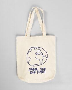 """Hvitt handlenett """"Support your local planet"""" - 100 % økologisk bomull » Etiske & økologiske klær » Grønt Skift"""