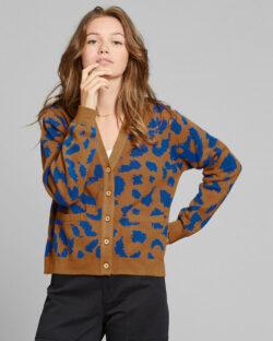 Cardigan med leopardmønster i brunt og blått - 100 % økologisk bomull » Etiske & økologiske klær » Grønt Skift