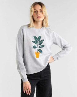 Grå genser med plante - 100 % økologisk bomull » Etiske & økologiske klær » Grønt Skift