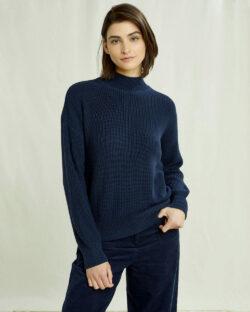 Navy genser med høy hals - 100 % økologisk bomull » Etiske & økologiske klær » Grønt Skift