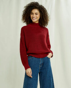 Rød genser med høy hals - 100 % økologisk bomull » Etiske & økologiske klær » Grønt Skift