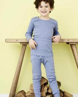 Blåmelert stillongs - 100 % økologisk bomull » Etiske & økologiske klær » Grønt Skift