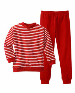 Rød og hvit stripete pysjamas - 100 % økologisk bomull » Etiske & økologiske klær » Grønt Skift
