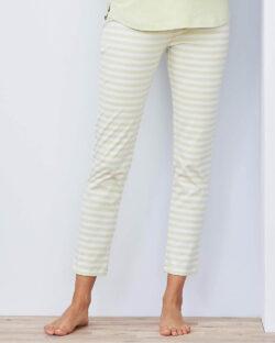 Melkegrønn og hvit stripete pysjbukse - økologisk bomull » Etiske & økologiske klær » Grønt Skift