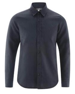 Mørkeblå skjorte - lin og økologisk bomull » Etiske & økologiske klær » Grønt Skift