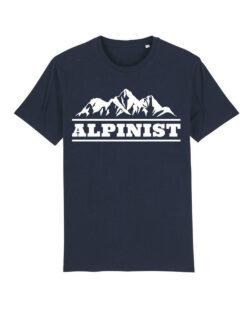 """Navy t-skjorte med """"alpinist""""-tekst i 100 % økologisk bomull » Etiske & økologiske klær » Grønt Skift"""