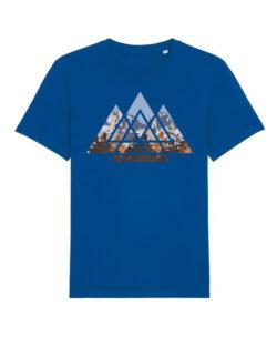 Blå t-skjorte med geometrisk landskap i 100 % økologisk bomull » Etiske & økologiske klær » Grønt Skift