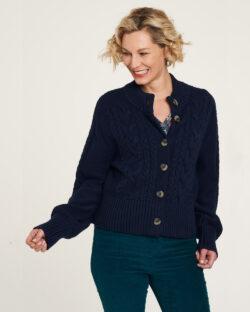 Navy strikket cardigan - 100 % økologisk bomull » Etiske & økologiske klær » Grønt Skift