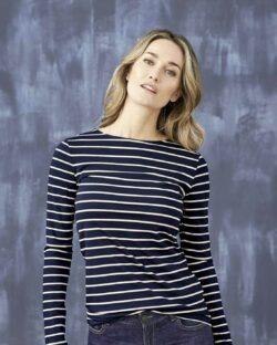 Mørkeblå og hvit stripete trøye - modal og regenererte proteinfibre» Etiske & økologiske klær » Grønt Skift