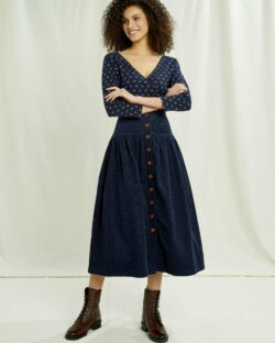 Navy kordfløyel skjørt - 100 % økologisk bomull » Etiske & økologiske klær » Grønt Skift