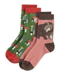 2 par sokker med bjørner og sopp i økologisk bomull » Etiske & økologiske klær » Grønt Skift