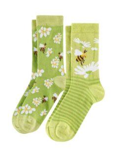 2 par grønne sokker med bier i økologisk bomull » Etiske & økologiske klær » Grønt Skift