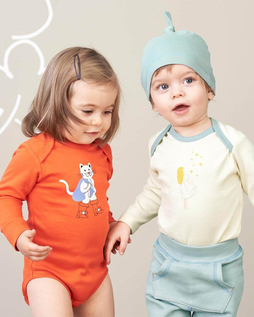 2 pk. oransje og hvit body i 100 % økologisk bomull » Etiske & økologiske klær » Grønt Skift