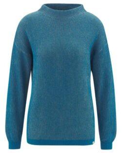 Blå høyhalset genser - hamp og økologisk bomull » Etiske & økologiske klær » Grønt Skift