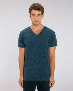 Mørkeblå melert t-skjorte med v-hals - 100 % økologisk bomull » Etiske & økologiske klær » Grønt Skift