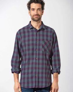 Lilla og grå rutete skjorte - hamp og økologisk bomull » Etiske & økologiske klær » Grønt Skift