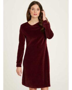 Burgunder velur kjole - økologisk bomull og resirkulert polyester » Etiske & økologiske klær » Grønt Skift