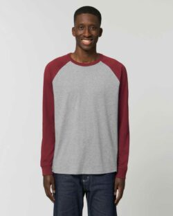 Unisex baseball trøye i mørkegrå og burgunder - 100 % økologisk bomull » Etiske & økologiske klær » Grønt Skift