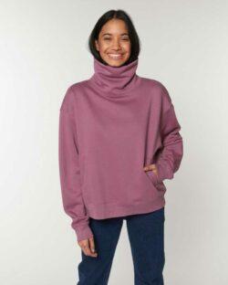 Mørk rosa genser med høy hals - økologisk bomull og resirkulert polyester » Etiske & økologiske klær » Grønt Skift