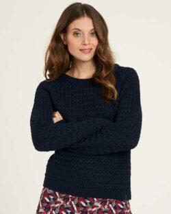 Mørkeblå strikket genser - 100 % økologisk bomull » Etiske & økologiske klær » Grønt Skift