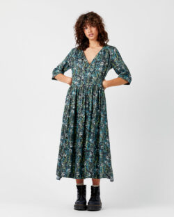 Mørk grønn mønstrete kjole - cupro og modal » Etiske & økologiske klær » Grønt Skift