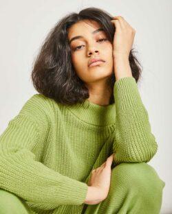 Grønn strikket genser - 100 % økologisk bomull » Etiske & økologiske klær » Grønt Skift
